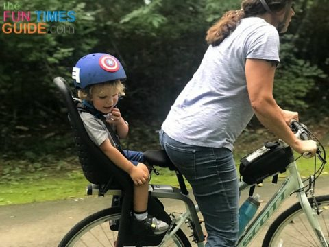 In motion... cycling with my toddler in a rear child bike seat.