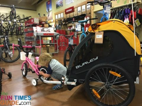 My son exploring the Burley bicycle trailer.