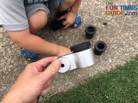 insert the black bushing into the metal hitch part