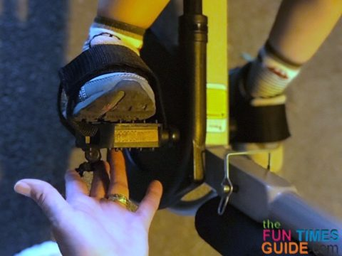 Closeup of the pedals and foot straps.