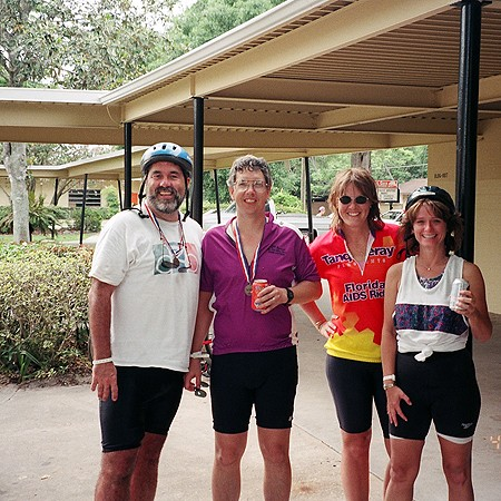 Laura and Lynnette with a couple of friends we met biking in Orlando.