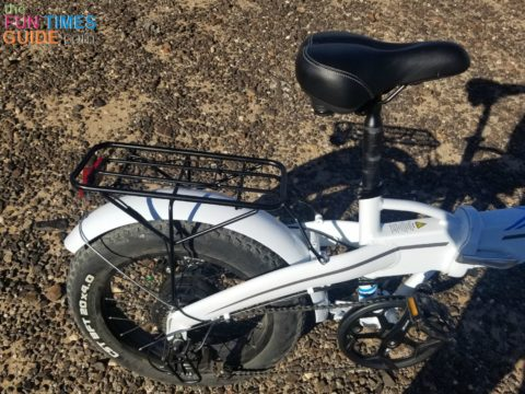 The fenders, a rear rack, and a very stout aluminum frame that hides the removable battery pack within the frame are all standard equipment on the Lectric XP ebike.