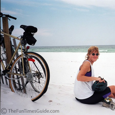 Biking the beachside roads of Pensacola Beach.