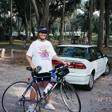 Lynnette's new lightweight Trek bike purchased from an official bicycle shop.