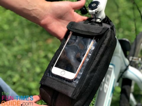 I like the see-thru phone pouch on my cycling gear bag.