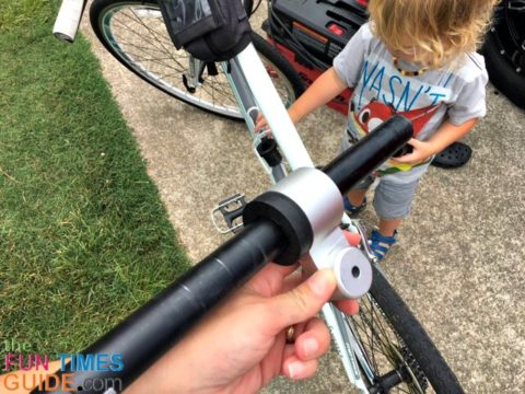 insert the seatpost through the bushing and metal hitch